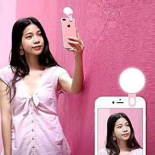 自撮りライト スマホledライト クリップ 携帯用 3段階のフラッシュ 写真 セルカライト 小型軽量 暗い環境 補助照明 全スマホに対応 USB充電式 ピンク