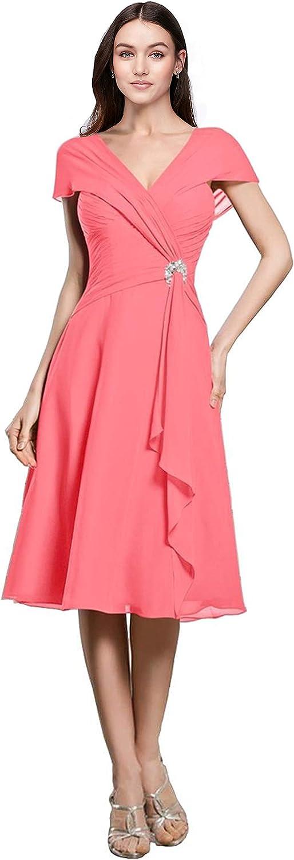 Judy Ellen Women V Neck Cap Sleeves Short Mother of The Bride Dress Prom Gown J069LF
