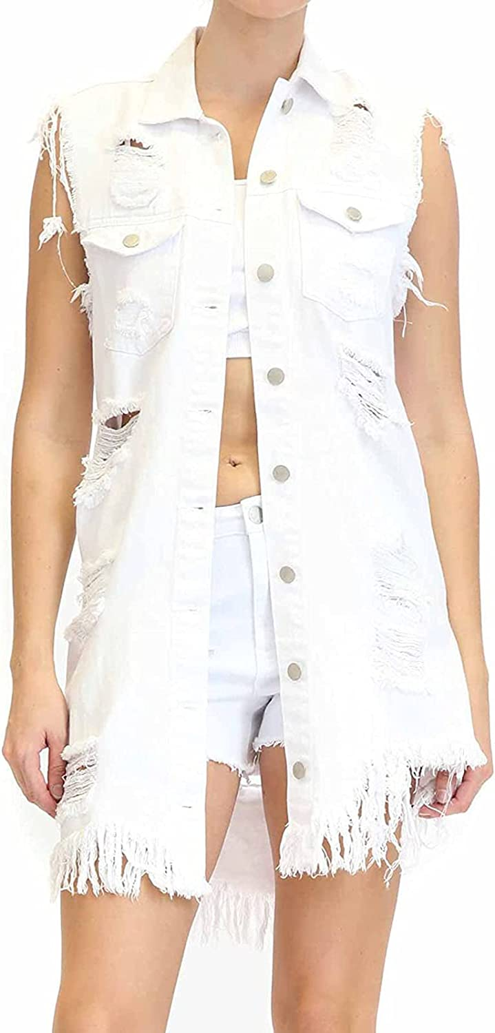 Women's Buttoned Washed Denim Vest Jacket Chest Flap Pockets Ripped Jean Jacket Women's Oversized Loose Sleeveless,White,XL