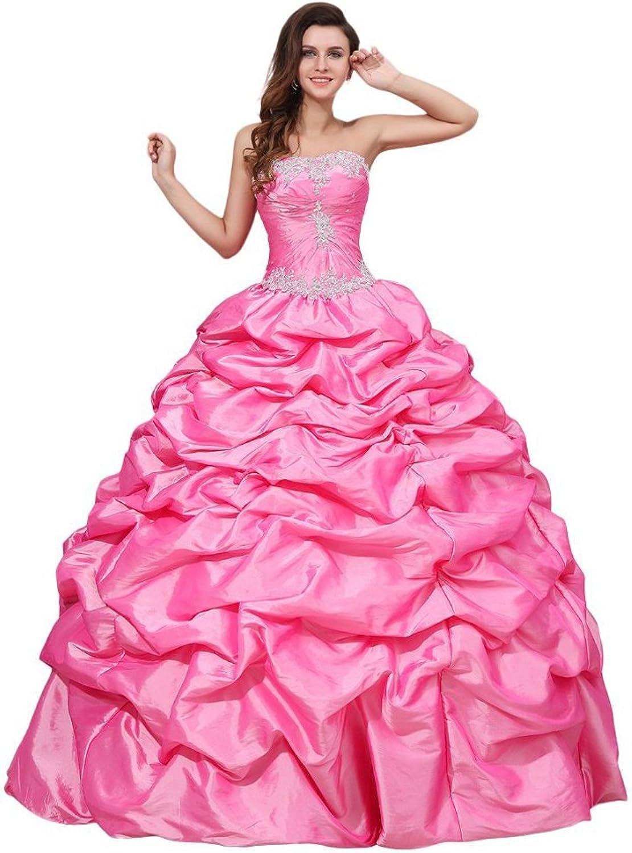 Dearta Women's Strapless Floor Length Satin Quinceanera Dress