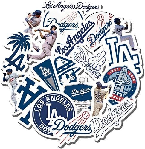 Dodgers Party - 19 PCS Los Angeles Aesthetic Dodgers Vinyl Waterproof Stickers Pack for Water Bottle Laptop Luggage Guitar Skateboard Car Window