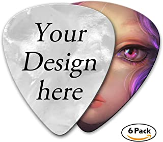 Personalized Guitar Picks Custom Your Picture or Logo - 6 Pack 0.71mm - Pearl Celluloid