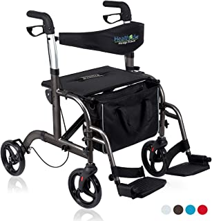 Health Line 2 in 1 Rollator-Transport Chair w/Paded Seatrest, Reversible Backrest and Detachable Footrests, Titanium
