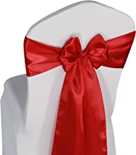 Red Satin Chair Sashes Ties - 100 pcs Wedding Banquet Party Event Decoration Chair Bows (Red, 100)