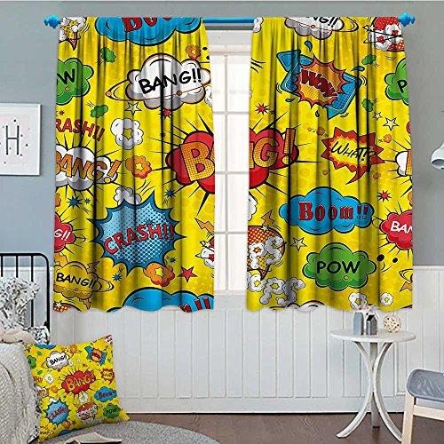 Superhero Window Curtain Drape Humor Speech Bubbles Funky Vivid Bang Boom Bam Pow Fiction Symbols Artful Design Decorative Curtains for Living Room 52'x63' Multicolor