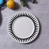 LLT 8 Pollici Nordic Tableware Black Bianco Geometria Bianco Lavagne in Ceramica Piatto Piatto Piatto Piatto in Porcellana Piatto da Dessert Dinnerware Piatto per Torta,B.