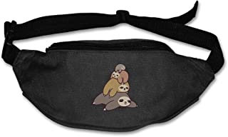 Unisex Sloth Stack Pile Funny Fanny Pack Waist Packs Phone Holder Adjustable Running Belt For Cycling,Hiking,Gym
