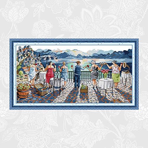 Freizeitleben DIY Stickerei gezählt gedruckt auf Leinwand Kreuzstich Kits DMC 14CT 11CT Kreuzstich-Handarbeits-Sets Kreuzstich-Malerei (Color : 11CT White Fabric)