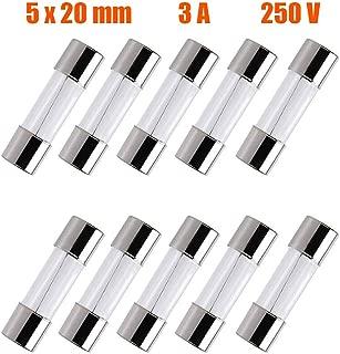 SIXQJZML 10 Pack F3AL Fast-Blow Fuse 3A 250V Glass Fuses 0.2 x 0.78 inch / 5 x 20 mm (3amp) (F3A)