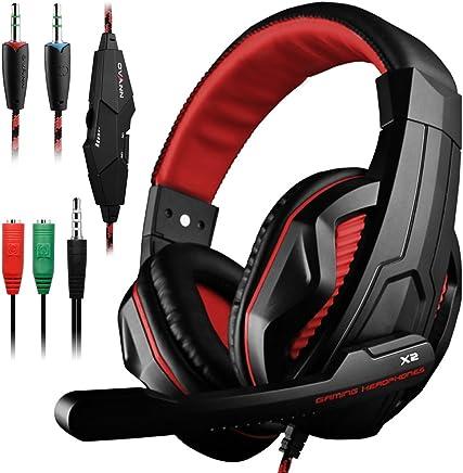 Gaming Headset, DLAND 3.5mm Cable Bass Stereo Aislamiento de ruido Auriculares para juegos con micrófono para computadora portátil, teléfono celular, PS4 y así sucesivamente - Control de volumen (negro y rojo)