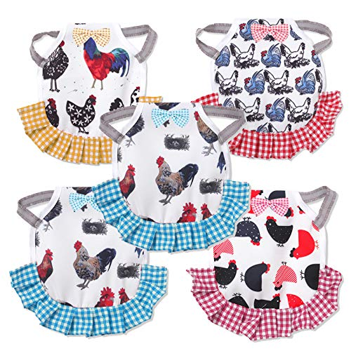 Chicken Saddle for Hens 5 Pack,Standard Chicken Saddle,Jacket Straps Hen Apron with Elasticity Straps Poultry Protector Apron Suit for Small, Medium and Large Hens,Themed Patterns with Bows