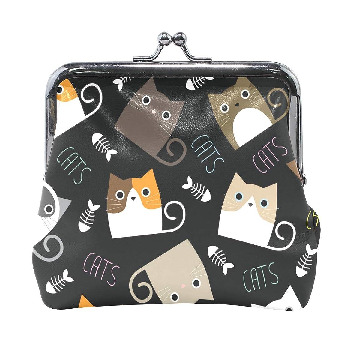 チャーター残忍な星がま口 財布 口金 小銭入れ ポーチ 猫 可愛い ANNSIN バッグ かわいい 高級レザー レディース プレゼント ほど良いサイズ