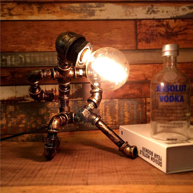Vintage Wasserpfeife Edison Tischlampe Steampunk Schmiedeeisen Schreibtisch Licht hohe Helligkeit E27 1-Kopf Tisch Laterne Home Bar Schlafzimmer Dekor Leuchte