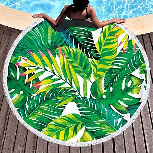 B-UK Toalla de Playa Gran Toalla de Playa Redonda para alfombras de Yoga Adultas Microfibra con borlas Toallas de Playa Grandes de 150 cm (Color : 6, Size : 150x150cm)