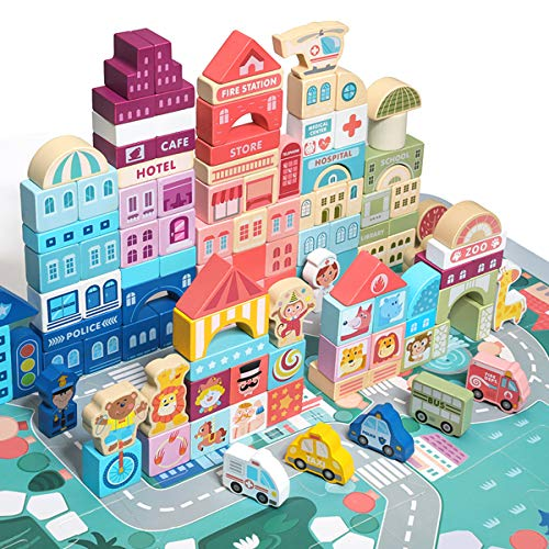 Wooden Blocks, Preschool Learning Educational Toys, 120Pcs Wooden Toddler Toys with City Map...