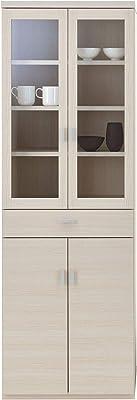 フナモコ 国産 完成品 食器棚 スマートキッチン 幅60.2×奥44.5×高180cm ホワイトウッド SKS-60K