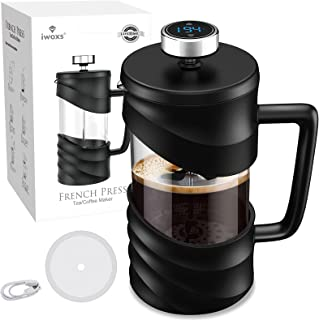 French Press Coffee Maker Features a 34 oz. capacity with Temperature Sensor, Display and Timer/Reminder for the perfect c...