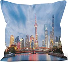 Beautiful Modern City at Night in Shanghai Burlap Pillow,HD Printing for Couch Sofa Bedroom Livingroom Kitchen Car,16