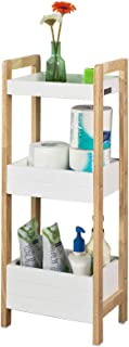 SoBuy 3-Tier Bathroom Shelf, White Storage Shelf, Organizer Shelving Unit, FRG226-WN