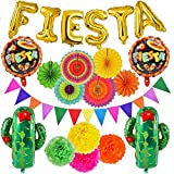 21 PCS Fiesta Mexican Party Decoration Fiesta and Cactus Balloons Paper Fans Pom Poms Triangle Bunting Banner for Fiesta Mexican Cinco De Mayo Birthday Party Supplies