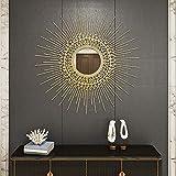 Espejo Sol Dorado Pared Grande, Espejo Sunburst Decorativo Redondo Que Estalla de Mediados de Siglo, 70cm / 80cm Decoración de Pared Moderna con Espejo Circular,80cm