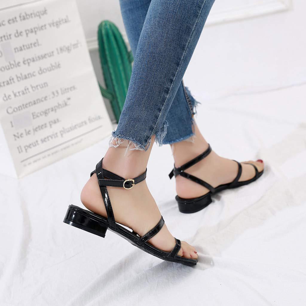 AG&T Sandalias Planas de Mujer Zapatos de Playa Moda Simple Casual Palabra Salvaje Hebilla Ajustable con Sandalias Romanas: Amazon.es: Deportes y aire libre