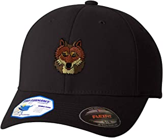 Custom Flexfit Baseball Cap Wolf Head Embroidery Animal Name Polyester Hat