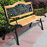 Giantex 50'' Patio Bench, Outdoor Furniture Rose Cast Iron Hardwood Frame Porch Loveseat, Weather Proof Porch Path Chair for 2 Person