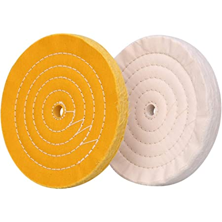 3 inch Spiral Sewn Buffing Wheel Cotton Buffing Wheels for Bench Grinder Benchtop Buffer Polisher Grinder with 10mm Arbor Hole White