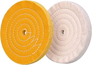 Polishing Wheel for Bench Grinder Buffing Wheel 8 inch White (70 Ply) & Yellow (42 Ply) for Buffer Polisher with 5/8 Inch Arbor Hole 2 PCS