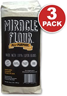 100% Sweet Lupin Flour, Non-GMO, Made in USA, All Purpose, Gluten Free, Vegan, Plant Protein, Low Carb Flour, Keto-Friendly, High Protein, Miracle Flour (3 Pack)