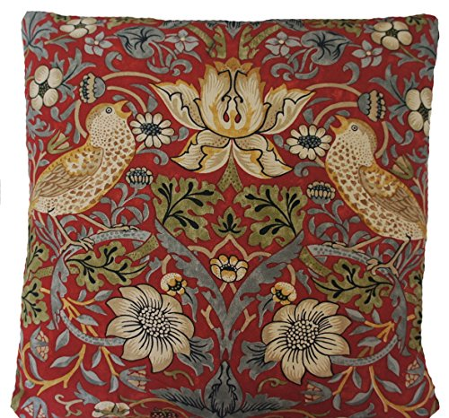 Arcobaleno London William Morris Cushion Cover Strawberry Thief Red Fabric Printed Cotton