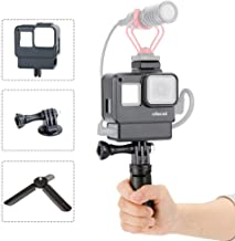 ULANZI V2 Vlogging Case w Tripod for Gopro, Handheld Protective Housing Case Vlogging Frame Cage Mount with Microphone Cold Shoe Adapter Compatible for GoPro 7 6 5, Action Camera Accessories