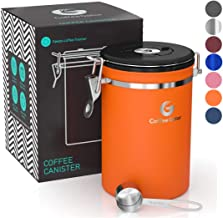 Coffee Canister - Coffee Gator Stainless Steel Coffee Container - Fresher Beans and Grounds for Longer - Date-Tracker, CO2-Release Valve and Measuring Scoop - Large, Orange