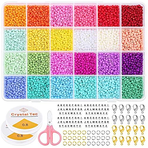 Selizo 9600 Pezzi Perline Vetro di 3mm per Braccialetti fai da te, Colorate Mini Perline Elastic Thread Kit con 100 Pezzi Lettera Perline per Creazione di Gioielli, Orecchini, Collane, Bigiotteria