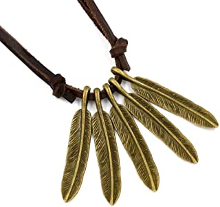 Necklace Vintage Leaf Pendant Fashion Punk Leather Rope Feather Pendant Necklace Handmade Men and Women Long Leaves