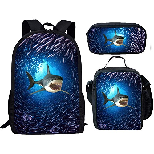 Showudesigns Shark Print Student School Bag Set with 17inch Backpack/Lunch Bag/Pencil Bag
