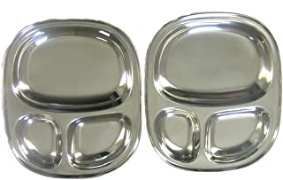Qualways Kids's Tray - Divided Stainless Steel Tray Set of 2