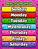 Days of the Week Poster for Home and Classroom by School Smarts | Fully Laminated Rolled and Sealed for Protection 17X22
