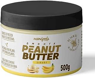 Crema de Cacahuete de HSN Foods, 100% Natural, Smooth Peanut Buter, Sin Aceite de Palma, Fuente de Fibra, Proteínas Vegetales, Ácidos Grasos Esenciales, Snack Saludable, Vegano, Sabor Banana, 500g