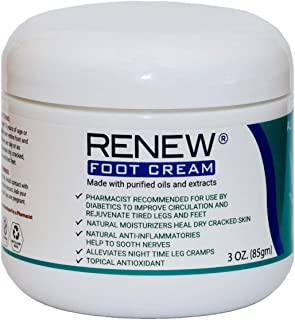 Renew Foot Cream for Diabetics - Revitalize Dry, Cracked Feet & Help Promote Better Circulation, Paraben Free All Natural,...