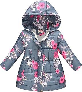 Hmlai Clearance Toddler Kids Girls Boys Fleece Hooded Coat Floral Print Winter Warm Raincoat Waterproof Zipper Parka Jacket