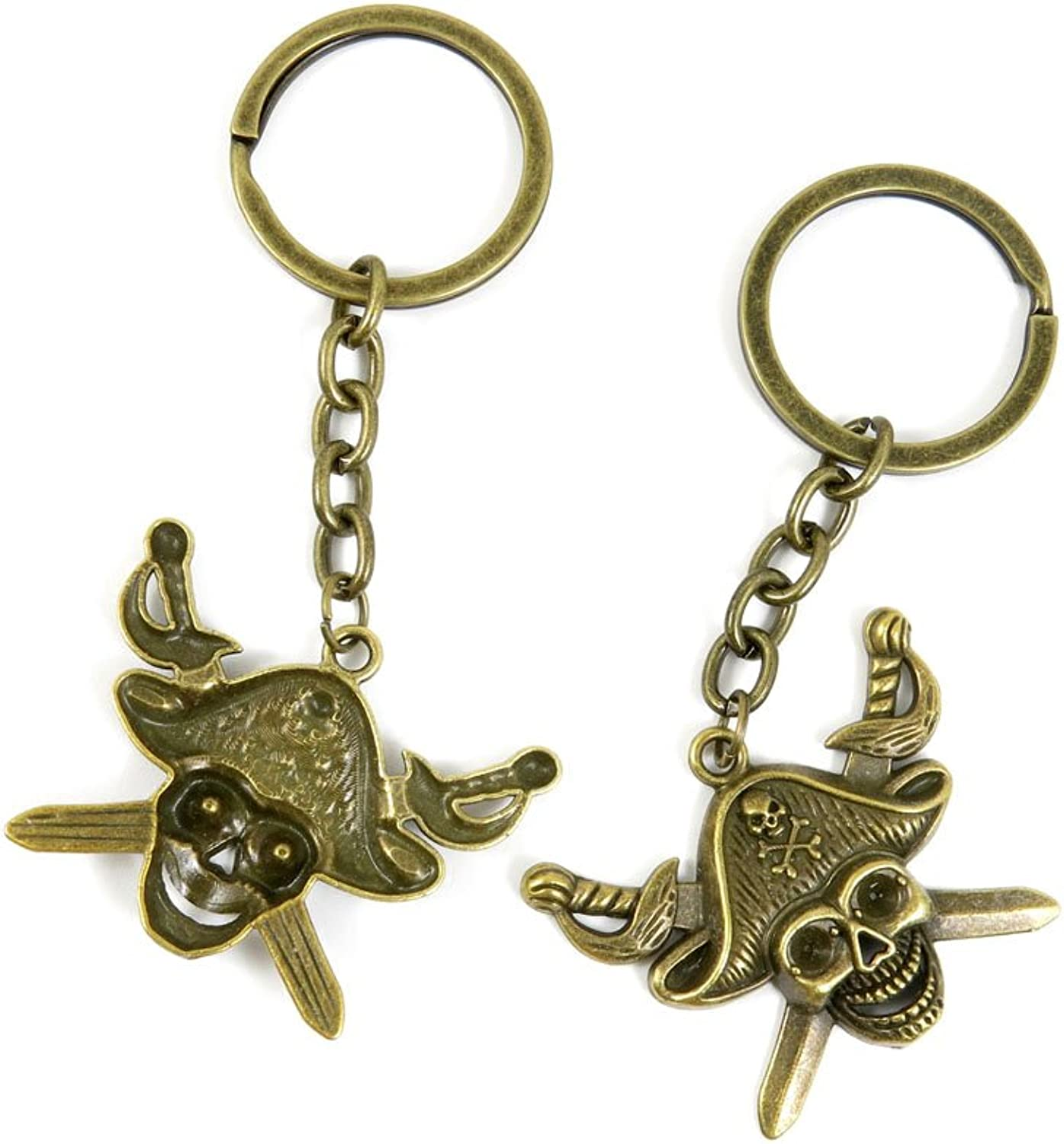 100 PCS Keyrings Keychains Key Ring Chains Tags Jewelry Findings Clasps Buckles Supplies F3EF0 Pirate Skull