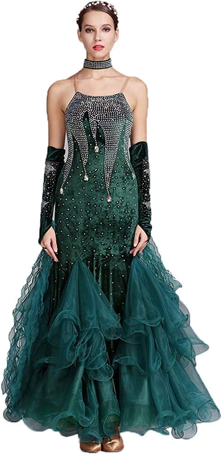 Ballroom Dance Dresses Women's Performance Rhinestones Sleeveless High Dress