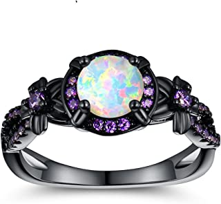 OPALTOP Black Gun Plated White Fire Opal Rings Created Amethyst Promise Engagement Rings Band for Women Girls (Size 5-10)