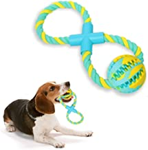 Ttspring 8-Shaped Dog Rope Toys for Aggressive Chewers, Cotton Rope Tug of War Dog Toys for Dog Training Teeth Cleaning and Playing, Suitable for Medium and Large Dogs