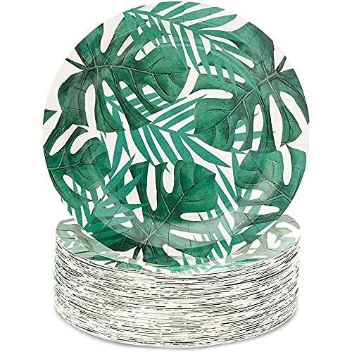 Platos de Papel para Fiestas Tropicales con Hojas de Palmera Verdes, Paquete de 80, 23 cm