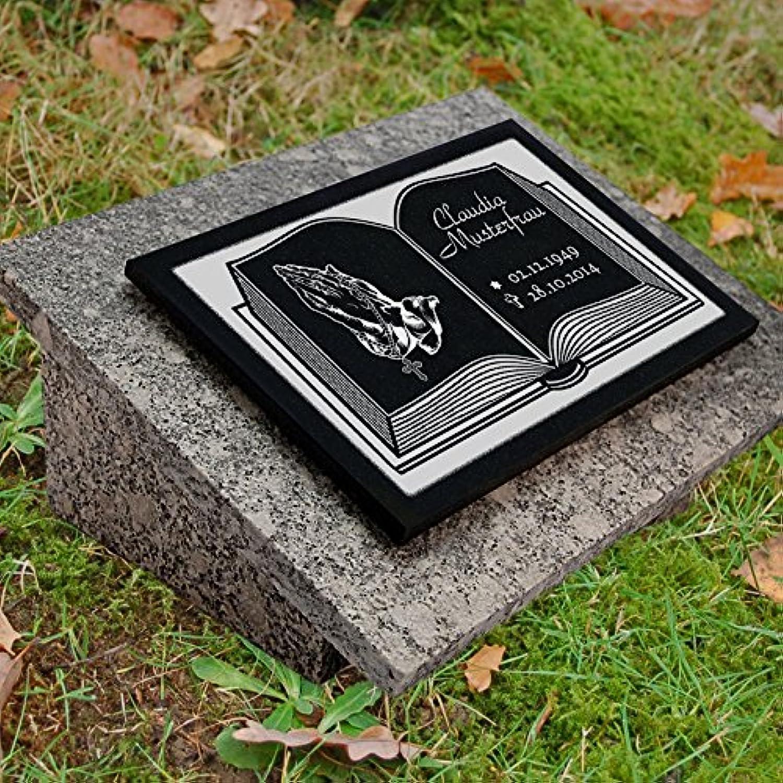 LaserArt24 Granit Grabstein, Grabplatte oder Grabschmuck mit dem Motiv Buch-gg4s und Ihrem Text Daten