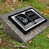 LaserArt24 Granit Grabstein, Grabplatte oder Grabschmuck mit dem Motiv Buch-gg4s und Ihrem Text/Daten
