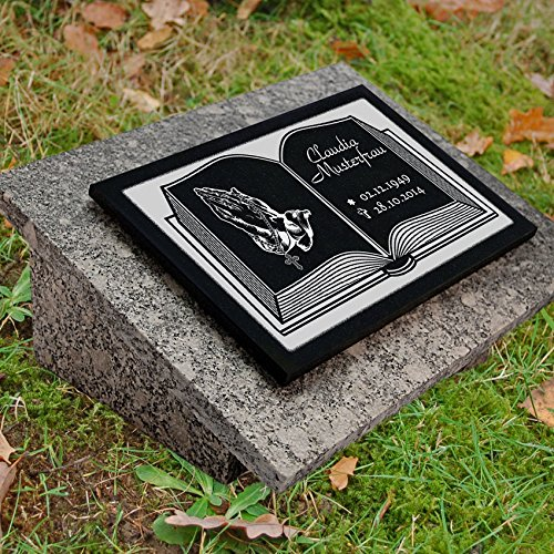 LaserArt24 Granit Grabstein, Grabplatte oder Grabschmuck mit dem Motiv Buch-gg4s & Ihrem Text/Daten